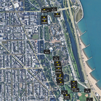 Aerial view of Lincoln Park with coordinates of wildlife spottings